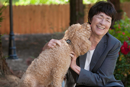 UC Merced - Chancellor Leland with her dog, Chance.