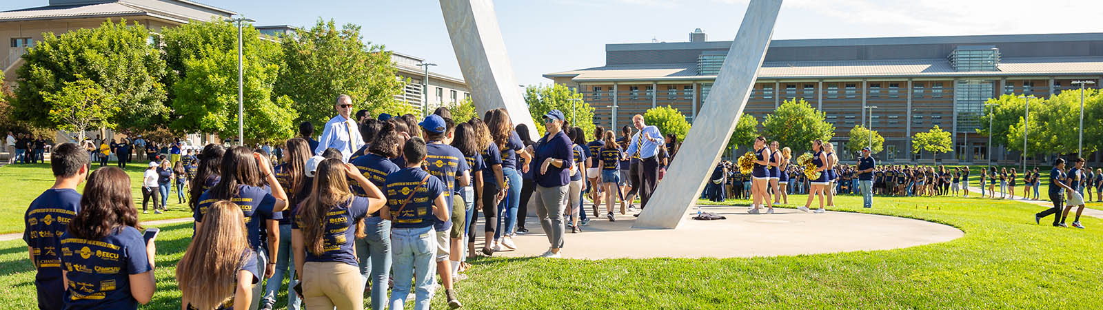 Interim Chancellor Nathan Brostrom welcoming incoming students in fall 2019