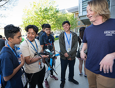 Prospective students tested prototypes of Engineering Service Learning team projects, including a drone system used to help identify disease in grape vines.