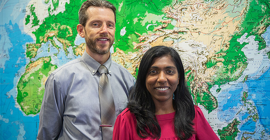 Craig Harmelin and Suki Spencer are among the first staff members on campus to receive Fulbright awards