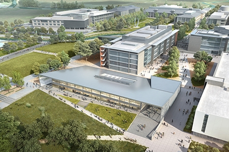 This rendering shows part of UC Merced's planned expansion with the existing campus in the background. The project will be completed by 2020.